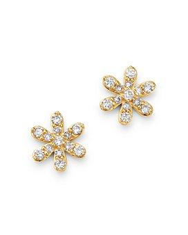 Moon & Meadow - 14K Yellow Gold Diamond Flower Stud Earrings - 100% Exclusive
