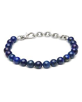 THE MONOTYPE -  Silver-Plated Brass Paulo Lapis Lazuli Beaded Bracelet