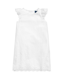 Ralph Lauren - Girls' Eyelet-Embroidered Flutter-Sleeve Dress - Little Kid