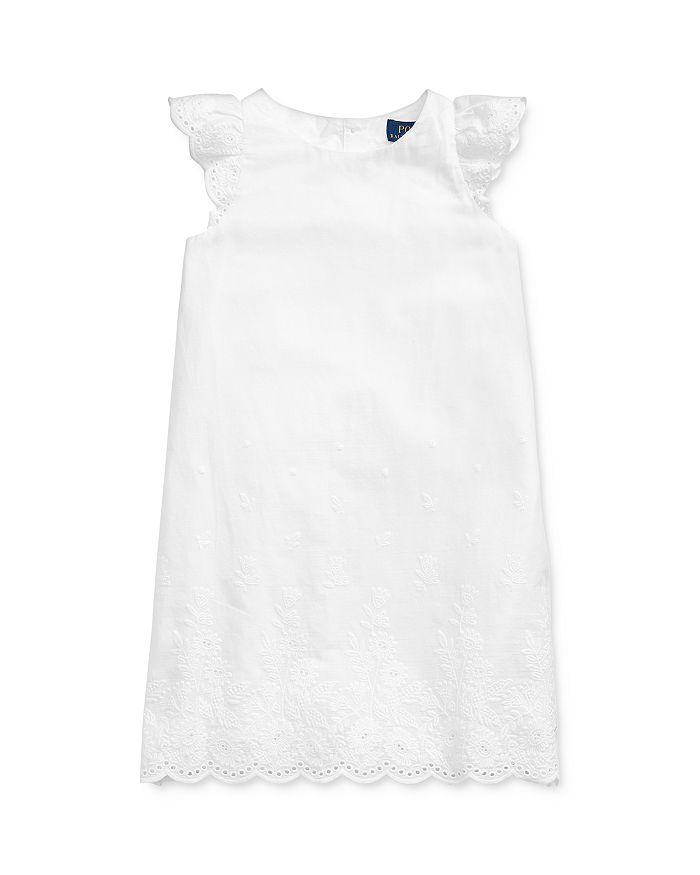 Ralph Lauren - Girls' Eyelet-Embroidered Flutter-Sleeve Dress - Little Kid