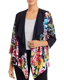 Caroline Rose - Cascading Floral Georgette Draped Jacket