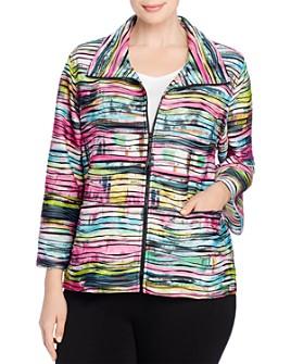 Caroline Rose Plus - Tie-Dyed Knit Zip Jacket