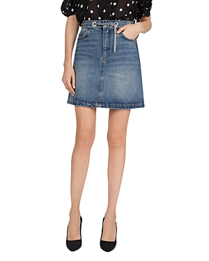 The Kooples Chain-Belted Denim Skirt