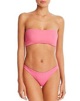 L*Space - Beach Wave Strappy Bandeau Bikini Top & Camacho Ribbed Bikini Bottom