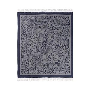 Etro Swann Wool Fringed Throw, 55 x 71