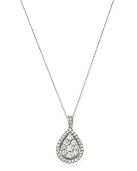 """Bloomingdale's - Diamond Cluster Teardrop Pendant Necklace in 14K White Gold, 18"""" - 100% Exclusive"""