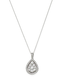 "Bloomingdale's - Diamond Cluster Teardrop Pendant Necklace in 14K White Gold, 18"" - 100% Exclusive"