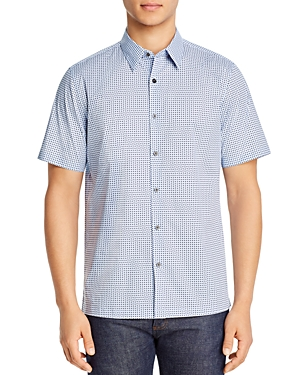 Theory Irving Regular Fit Geometric Print Shirt