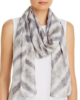 Eileen Fisher - Chevron Tie-Dyed Stripe Silk Scarf