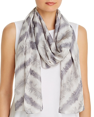 Eileen Fisher Chevron Tie-Dyed Stripe Silk Scarf