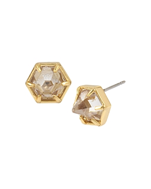 Allsaints Gold-Tone Crystal Hexagon Stud Earrings