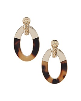 Ralph Lauren - Gold-Tone & Synthetic Tortoise Clip-On Doorknocker Drop Earrings