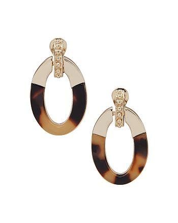 Ralph Lauren - Gold-Tone & Synthetic Tortoise Clip-On Doorknocker Drop Earrings