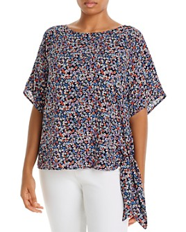 MICHAEL Michael Kors Plus - Dainty Blossom Floral Print Side-Tie Top