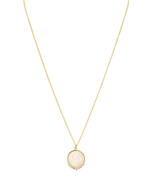 Argento Vivo Pave & Mother-of-Pearl Circle Pendant Necklace, 16-18