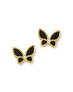 Roberto Coin - 18K Yellow Gold Onyx & Diamond Butterfly Stud Earrings - 100% Exclusive