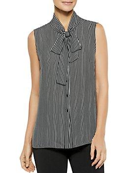 Misook - Striped Tie-Neck Top