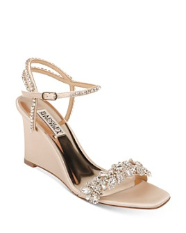 Badgley Mischka - Women's Jenna Embellished Strappy Wedge Sandals