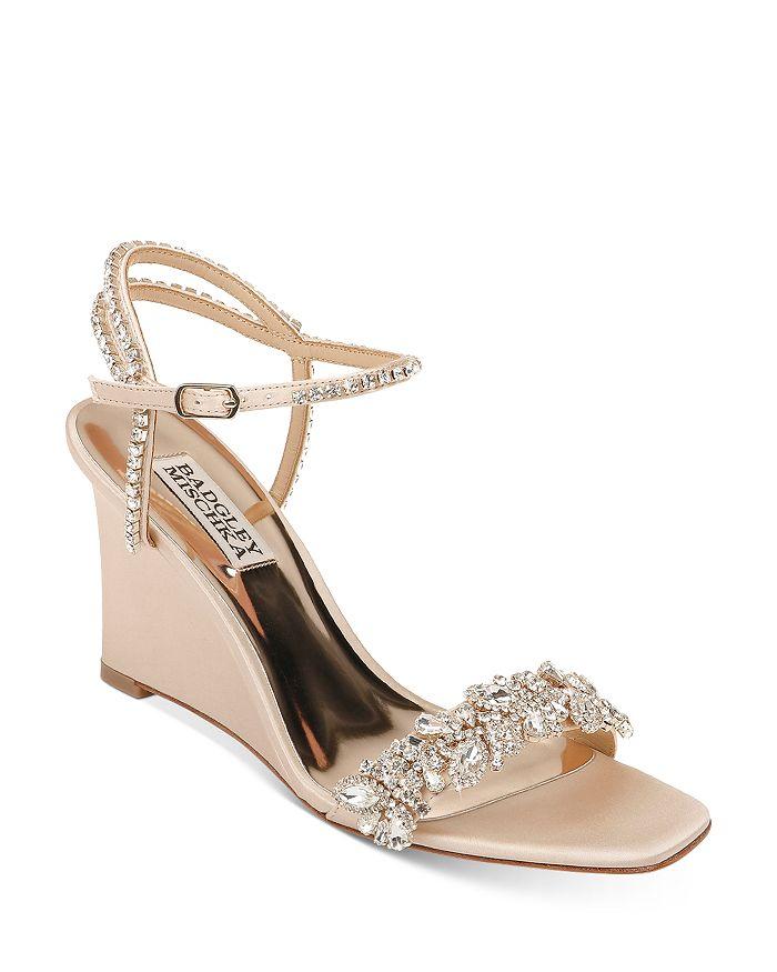 Badgley Mischka - Women's Jenna Embellished Strappy Wedge Sandals