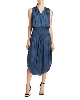HALSTON - Printed Smocked-Waist Dress