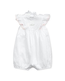 Ralph Lauren - Girls' Cotton Ruffled Embroidered Shortalls - Baby