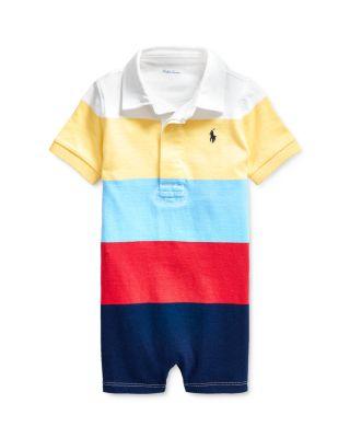 6 Months Ralph Lauren Polo Baby Boys Chambray Military Shortall Romper