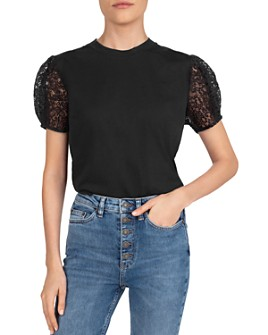 The Kooples - Lace-Sleeve T-Shirt