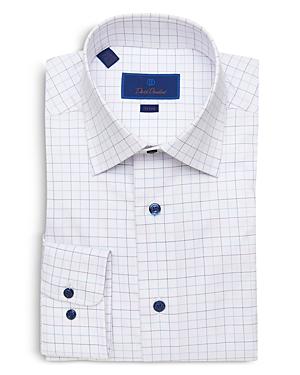 David Donahue Check Trim Fit Dress Shirt-Men