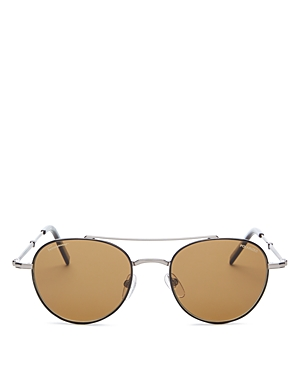 Salvatore Ferragamo Men's Timeless Polarized Brow Bar Round Sunglasses, 51mm