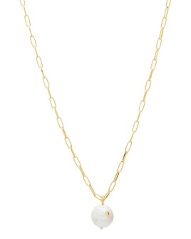 """Gorjana - Reese 18K Gold-Plated Cultured Freshwater Pearl Large Link Pendant Necklace, 18"""""""