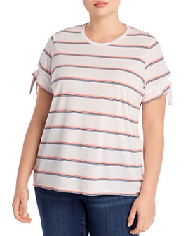 Marc New York Plus - Striped Tie-Sleeve Tee