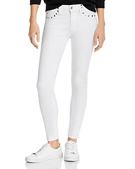 7 For All Mankind - The Skinny Studded Jeans in Clean White