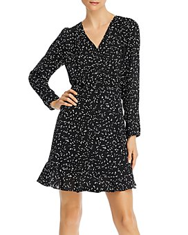 AQUA - Printed Long-Sleeve Ruffled Dress - 100% Exclusive