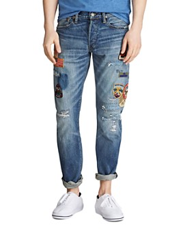 Polo Ralph Lauren - Varick Cotton Ripped-and-Repaired Slim Straight Fit Jeans in Saybrook