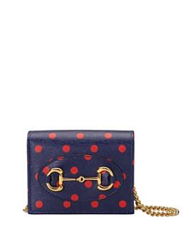 Gucci - 1955 Horsebit Polka-Dot Leather Card Case Chain Wallet
