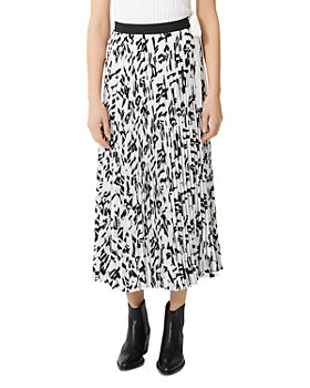 Maje - Jemo Geometric-Print Pleated Midi Skirt