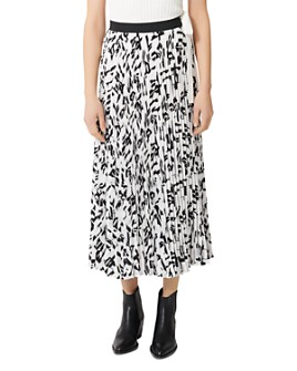 Maje - Jemo Geometric-Print Pleated Midi Skirt