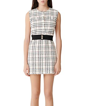Maje - Rianey Belted Tweed Mini Dress
