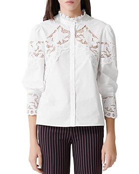 Maje - Cebella Lace-Trim Cotton Shirt