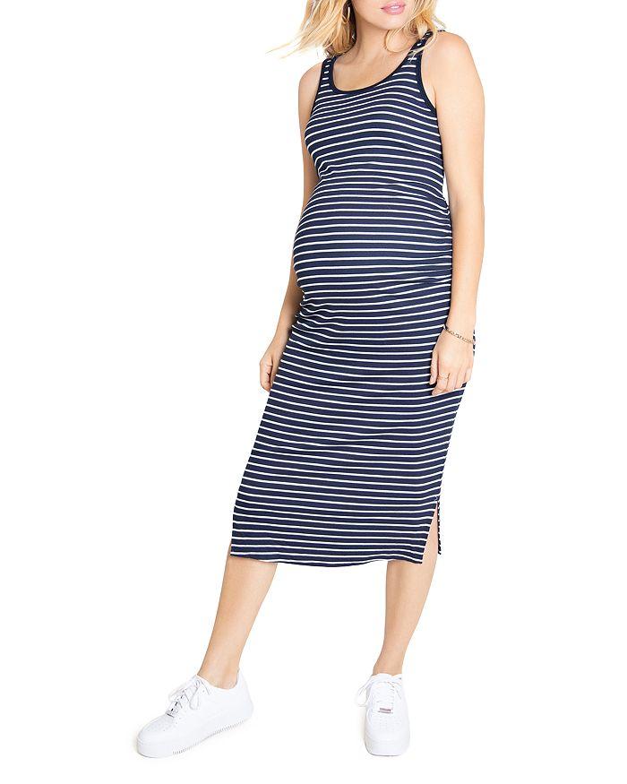 Ingrid Isabel Ribbed Tank Midi Maternity Dress In Navy White Stripe Modesens