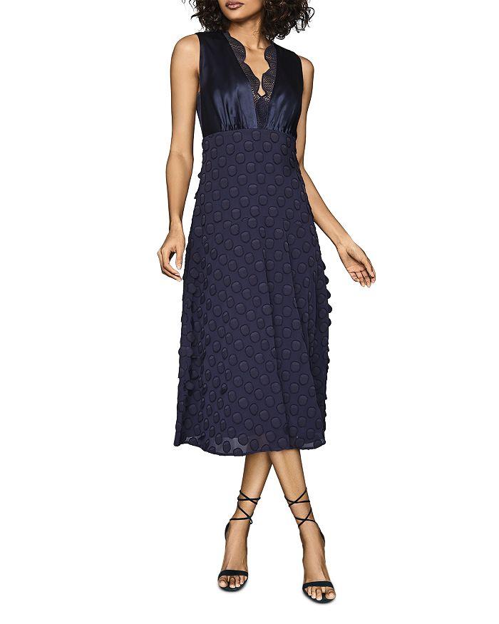 REISS - Leni Jacquard-Spot Midi Dress