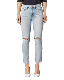 Hudson - Holly Ripped Straight Jeans in Destructed Wash Out