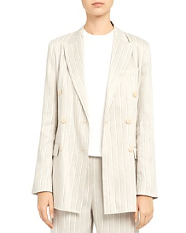 Theory - Striped Stretch Linen Double-Breasted Blazer