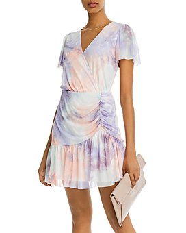 AQUA - Flutter-Sleeve Mesh Overlay Dress - 100% Exclusive
