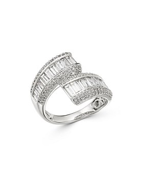 Bloomingdale's - Diamond Baguette Bypass Statement Ring in 14K White Gold, 2.0 ct. t.w. - 100% Exclusive