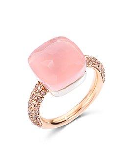 Pomellato - 18K Rose Gold Nudo Maxi Rose Quartz, Chalcedony & Brown Diamond Ring