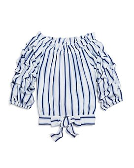 Habitual Kids - Girls' Gathered-Sleeve Striped Top - Little Kid