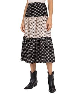 Gerard Darel - Lorna Polka-Dot-Print Tiered Midi Skirt
