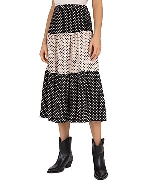 Gerard Darel Lorna Polka-Dot Print Tiered Midi Skirt