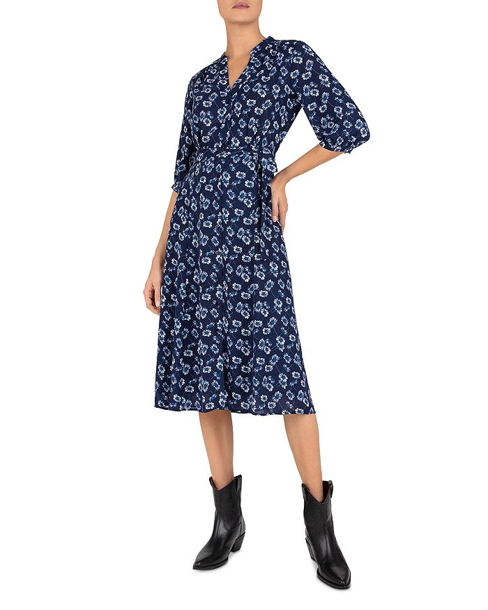 Gerard Darel Settima Floral Print Wrap Midi Dress In Blue